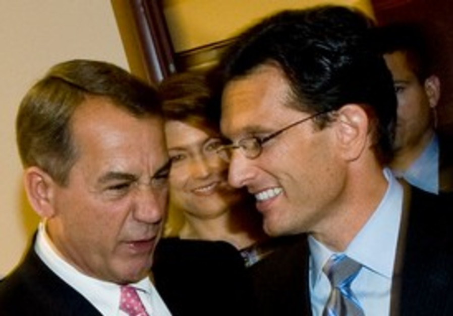 John Boehner shakes hands with with Eric Cantor