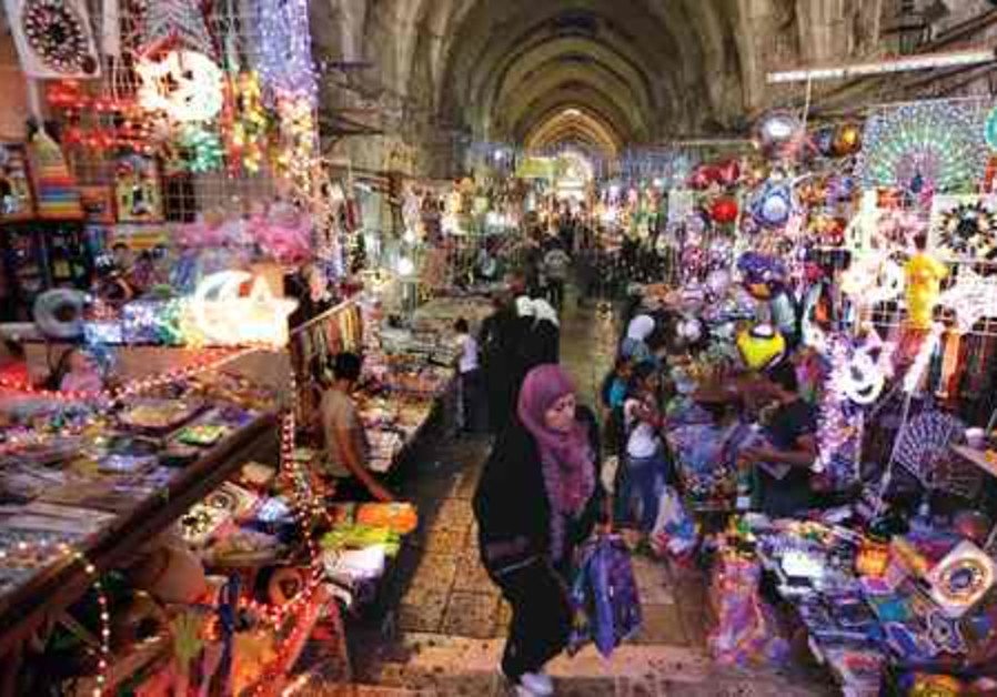 Muslims shop for Ramadan decorations in Jerusalem.
