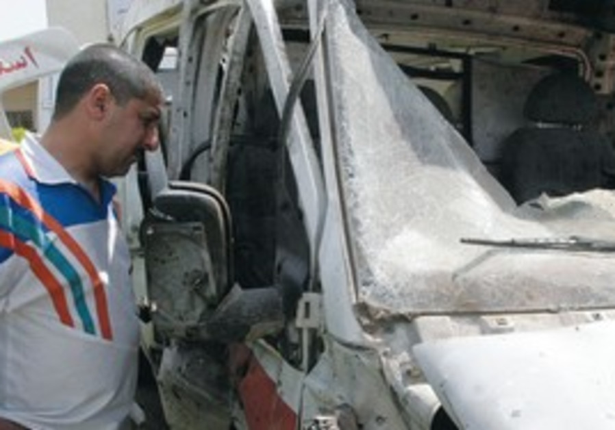 Destroyed ambulance in Iraq