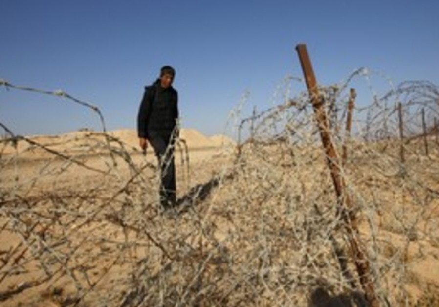An Egyptian soldier on the Israeli border in Sinai