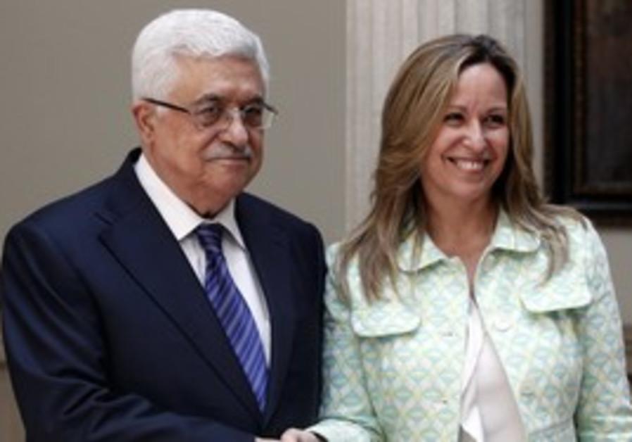 Spanish FM Trinidad Jimenez  with Abbas