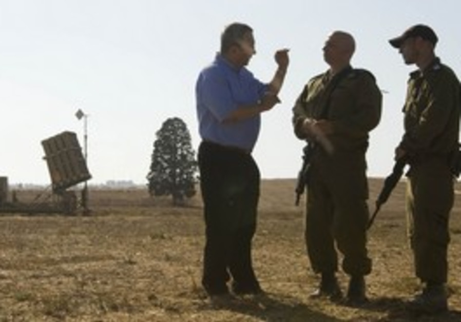 Barak with IDF soldiers at Iron Dome