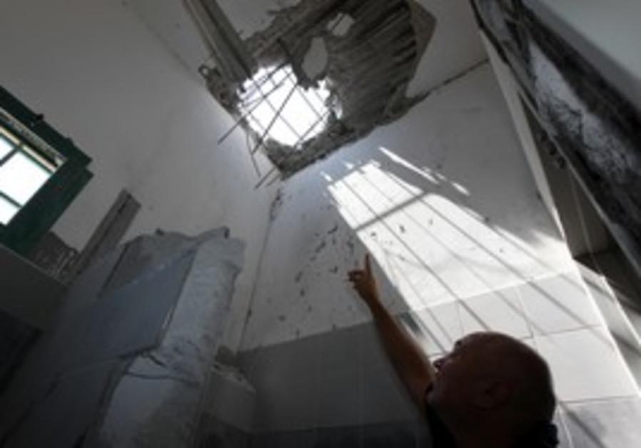 rocket damage in Beersheba house