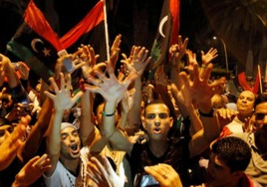 Libyans celebrating the capture of Tripoli