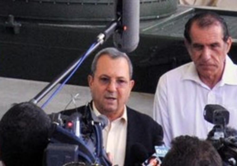Defense Minister Ehud Barak speaking in Ashkelon