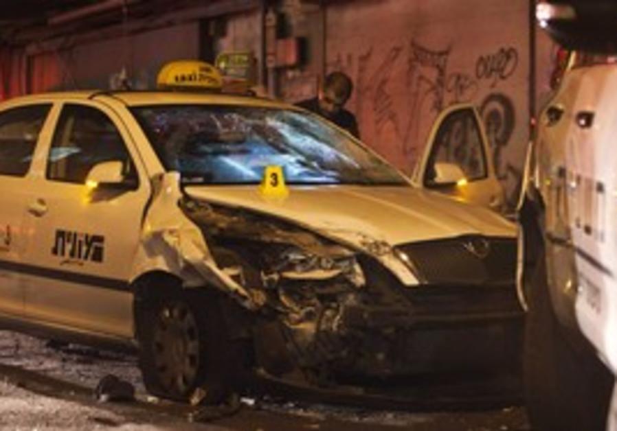 Hijacked taxi used in terror attack in Tel Aviv.