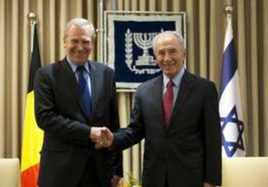 Shimon Peres and Belgian PM Yves Leterme