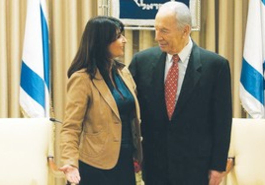 Valerie Hoffman and Shimon Peres.