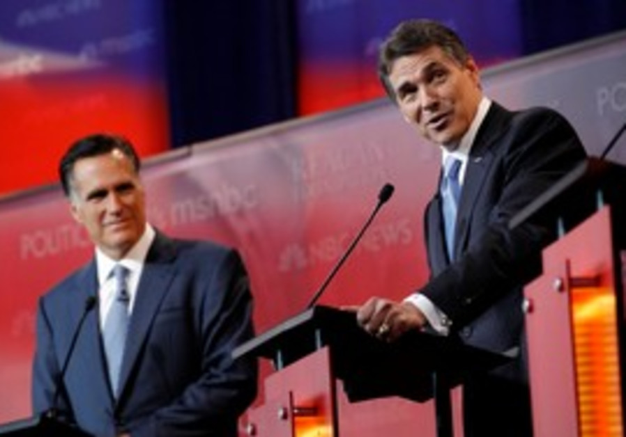 Perry and Romney at Republican debate