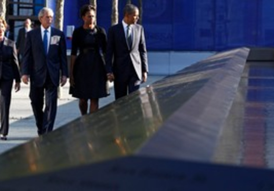 US President Obama with his wife at Ground Zero