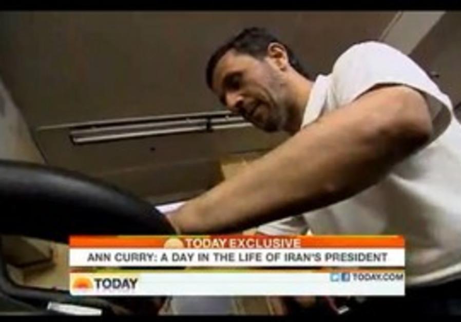Iranian President Ahmadinejad exercises