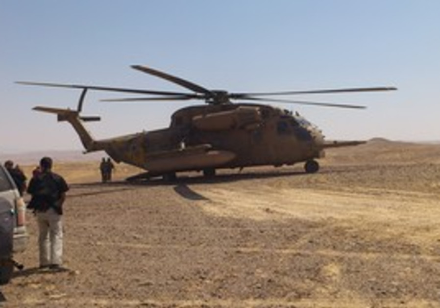 PM's helicopter near Egypt border fence site