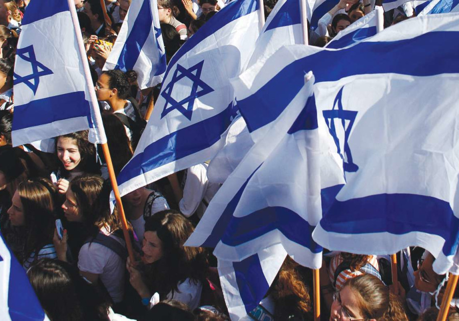 Children with Israeli flags
