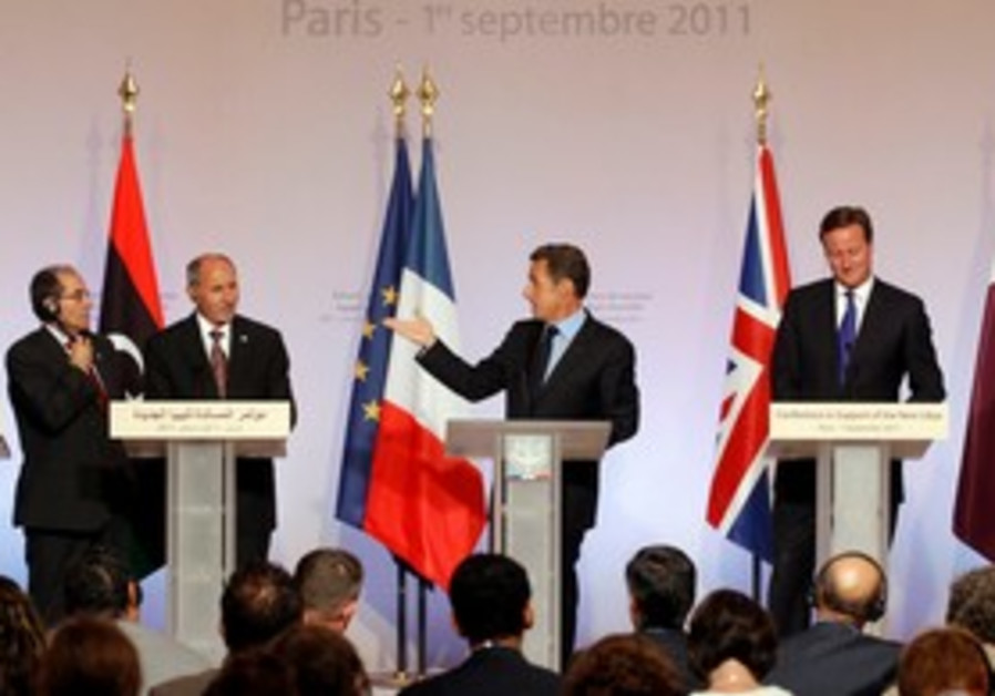 Sarkozy and Cameron speak to press [file]