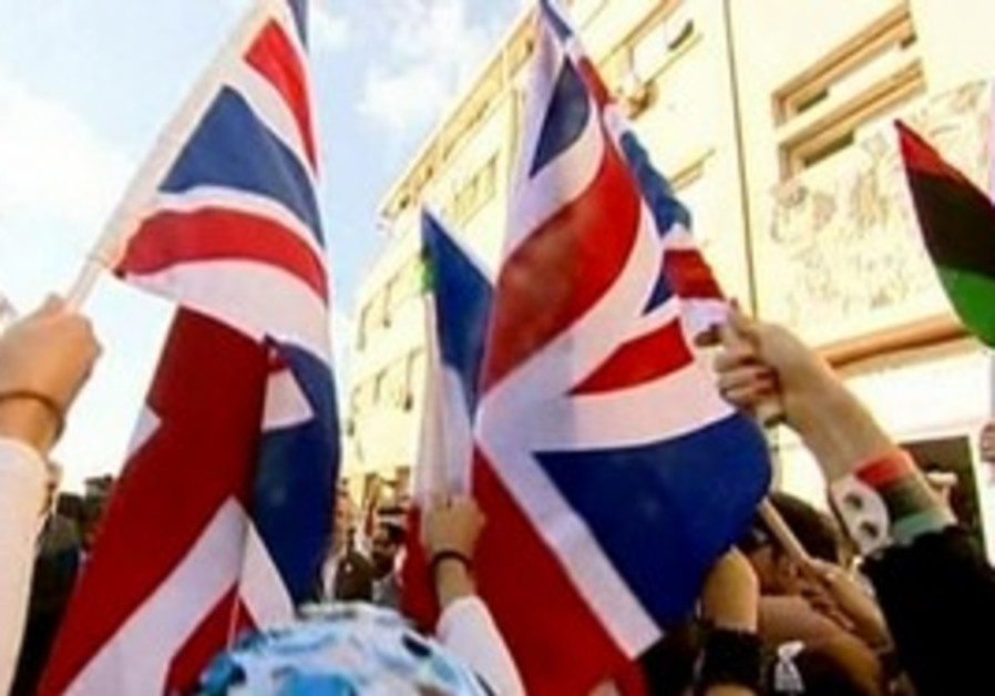 British flags wave in Sirte, Libya.