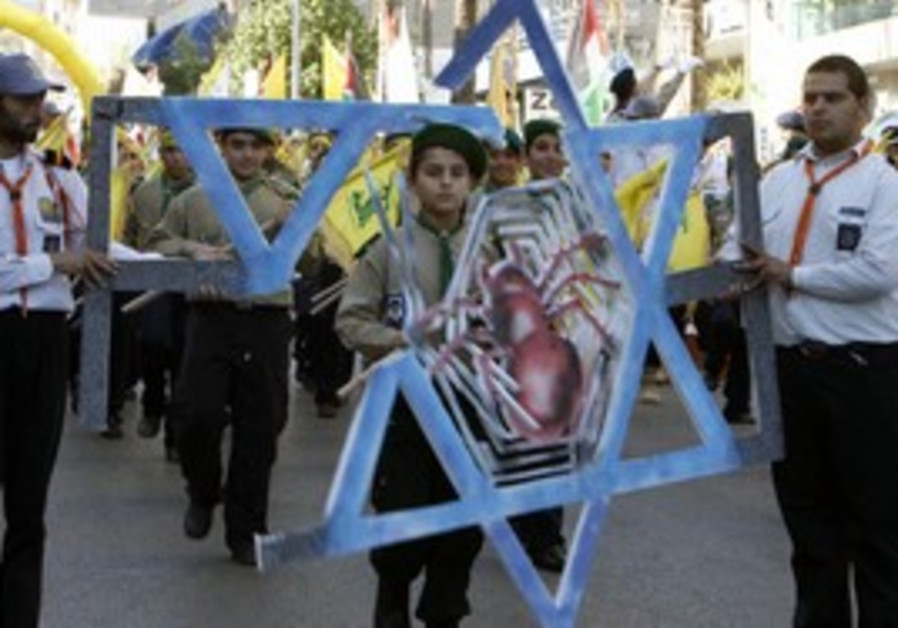 Hezbollah scouts marching