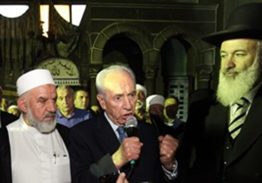 President Peres and Rabbi Metzger at Tuba Zangria