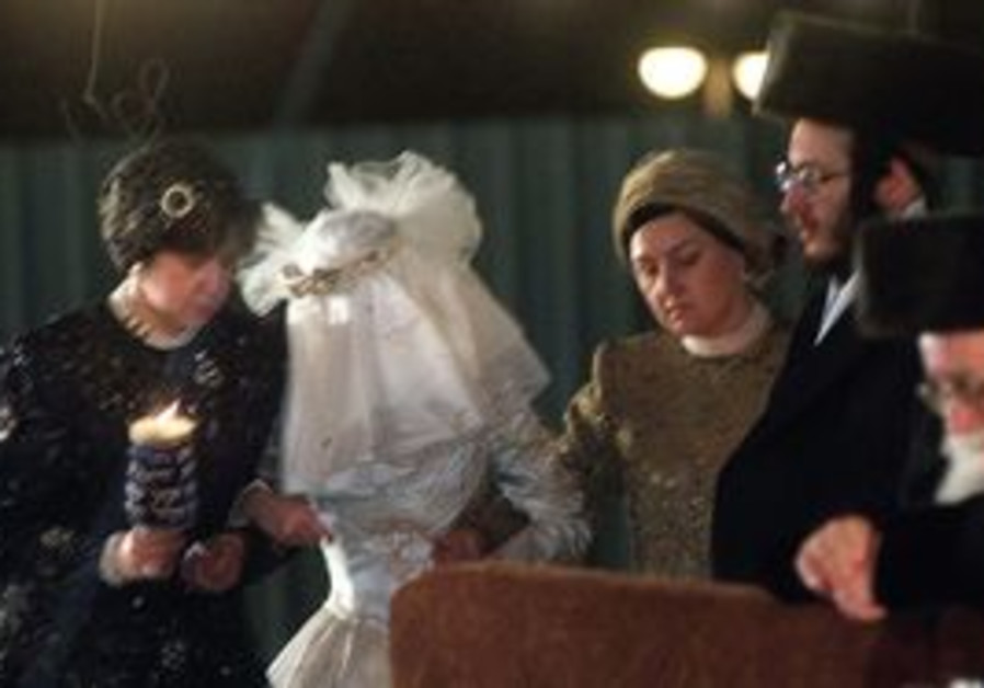 Hassidic bride with body covered