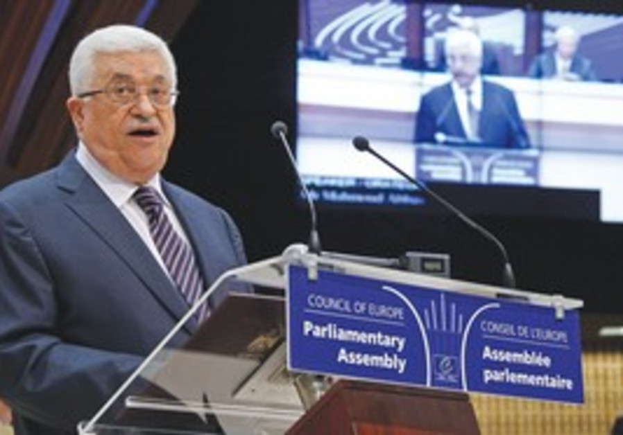 Abbas addresses EU Parliament in Strasbourg