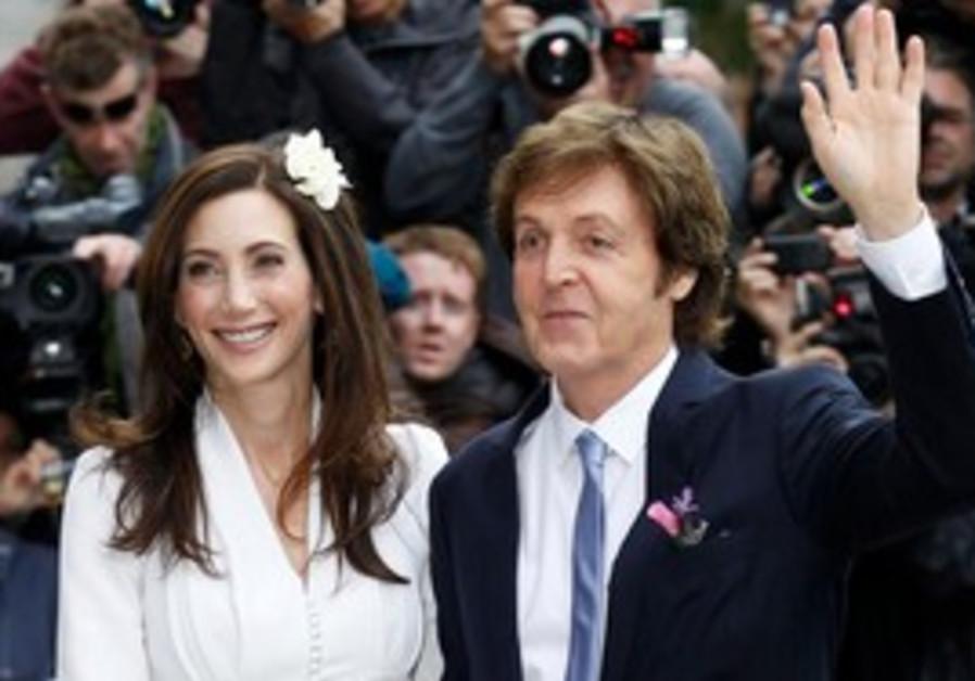 Paul McCartney and bride Nancy Shevell at wedding