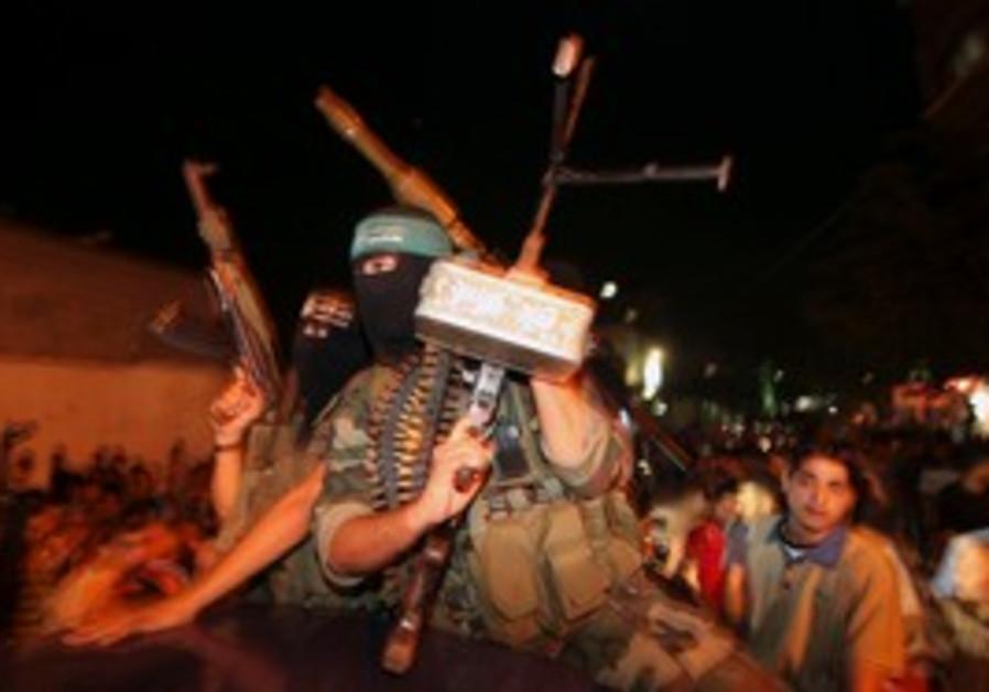 Hamas militants celebrate in Gaza