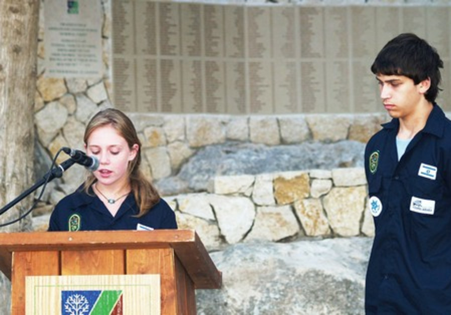 Young Judeans honor casualties of Israel's wars.