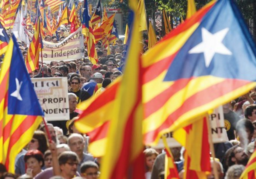 Catalan separatist protesters.