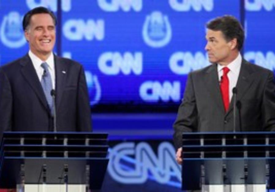 Romney and Perry at Republican debate in Las Vegas