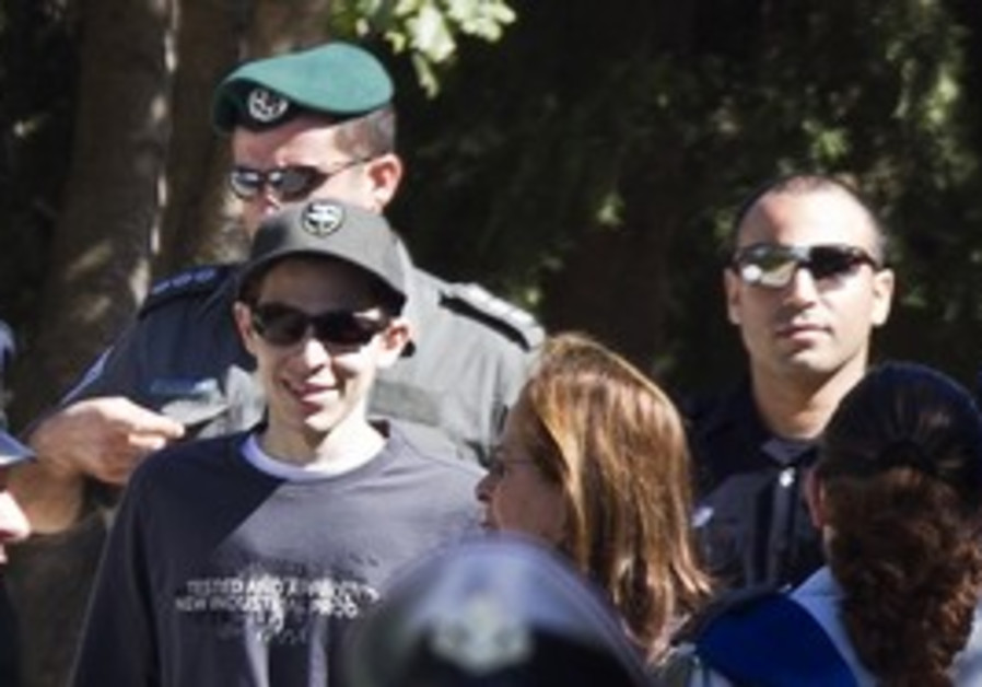 Gilad Schalit on a walk with his mom