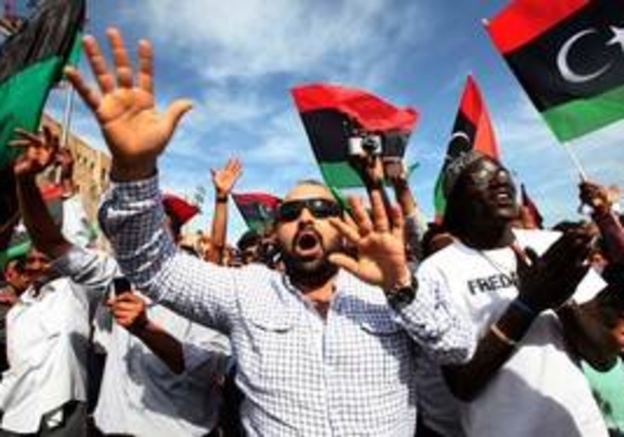 Libya timeline from protests to the death of a dictator middle libyans celebrate news of muammar gaddafis death sciox Choice Image