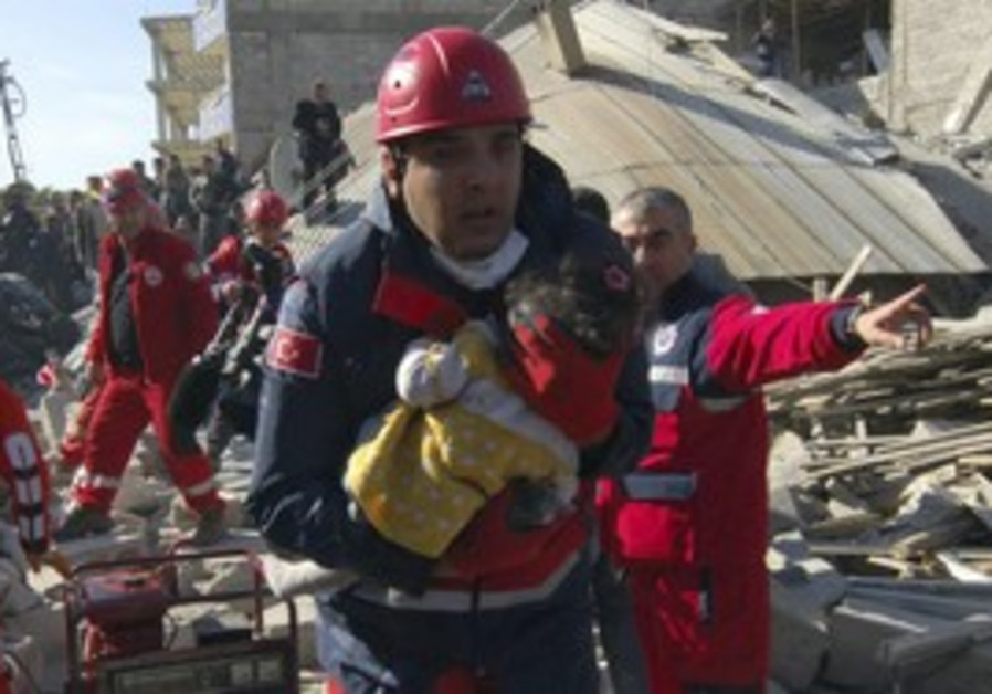 Child rescued from earthquake in Turkey.