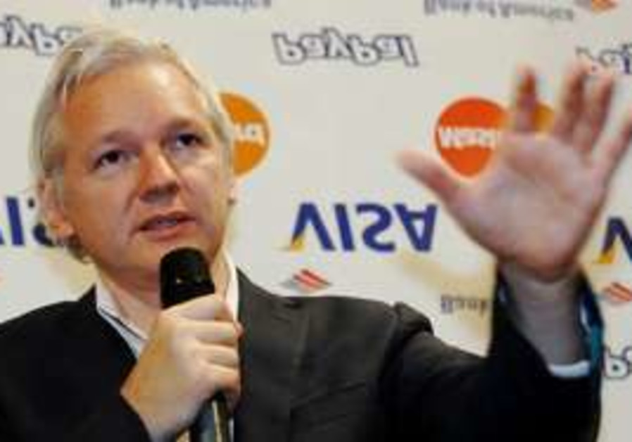 WikiLeaks founder Julian Assange speaks to press