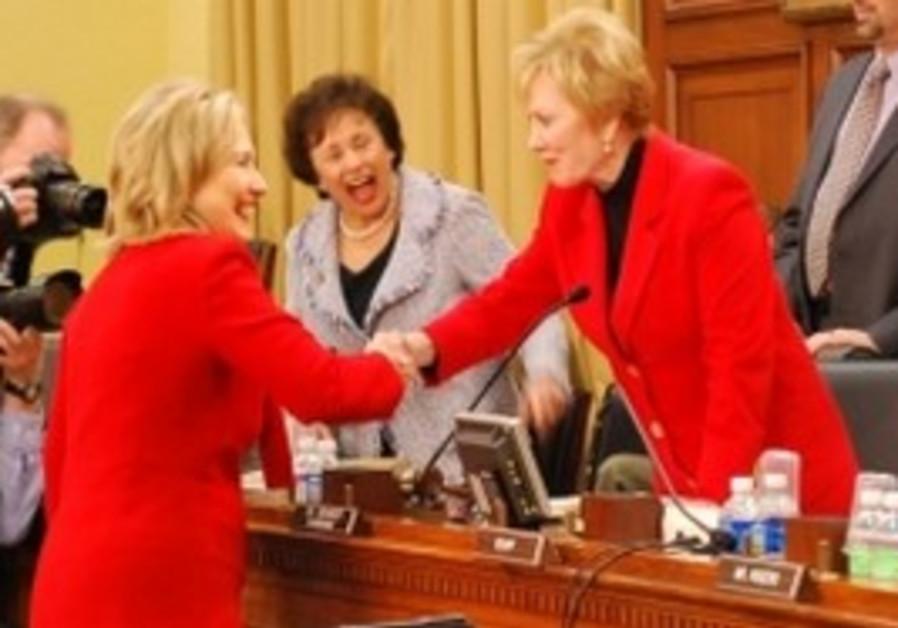 Kay Granger and Nita Lowey with Hillary Clinton