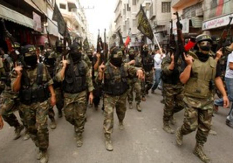 Islamic Jihad members at funeral in Gaza