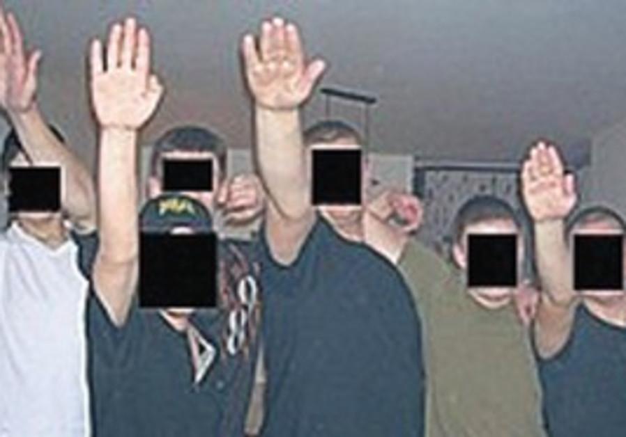 NEO-NAZI gang 'Patrol 36' salutes [file]