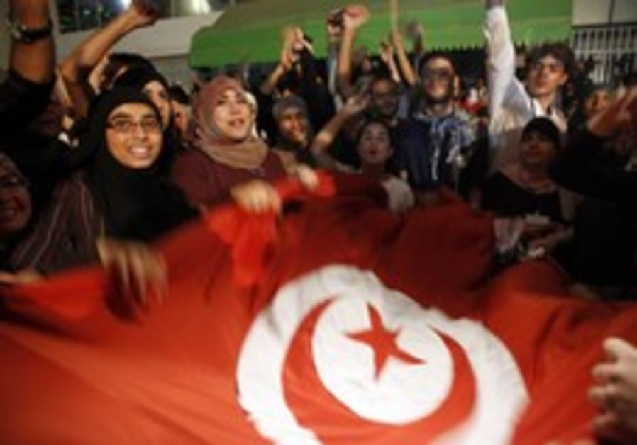 Demonstrators celebrate in Tunis