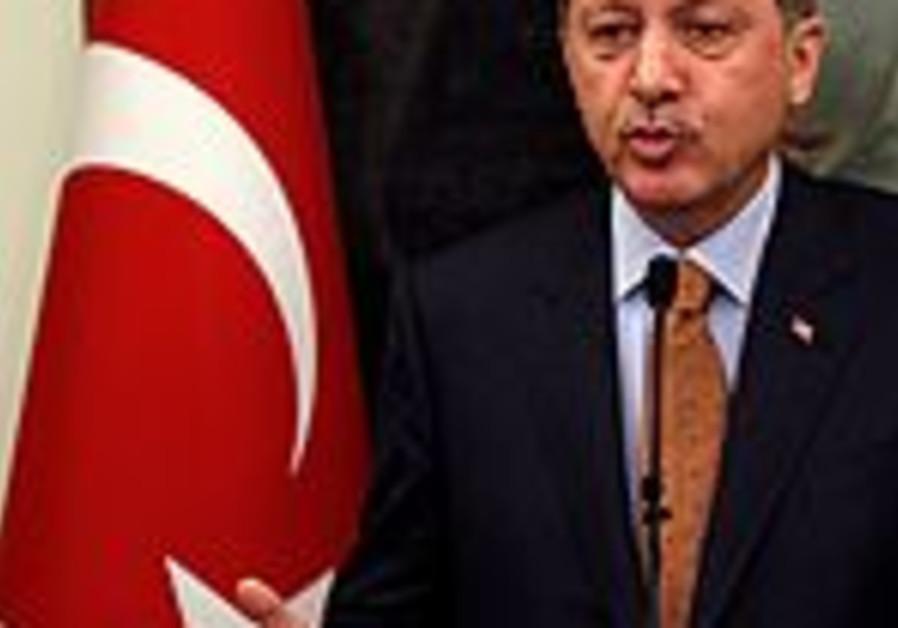 Turkey's Prime Minister Tayyip Erdogan speaks duri