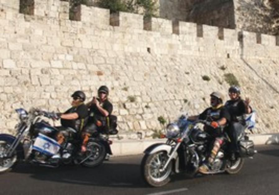 Harley Davidson motorcycle riders in Jerusalem