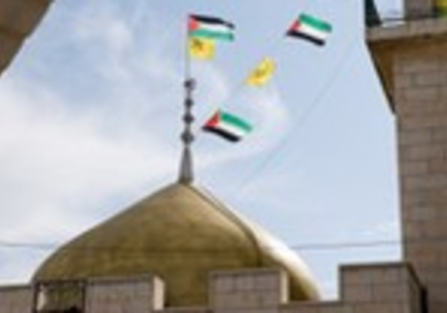Palestinian flags, mosque