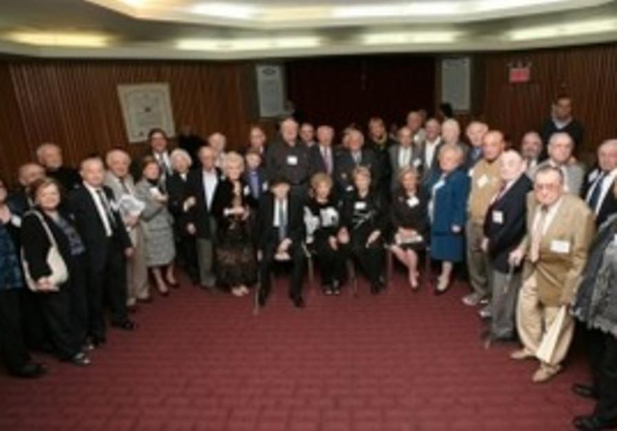 Partisans posing at a reception in Manhattan