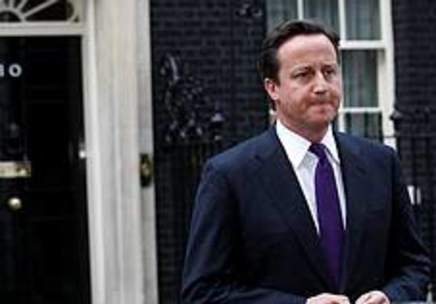 Britain's Prime Minister David Cameron speaks outs