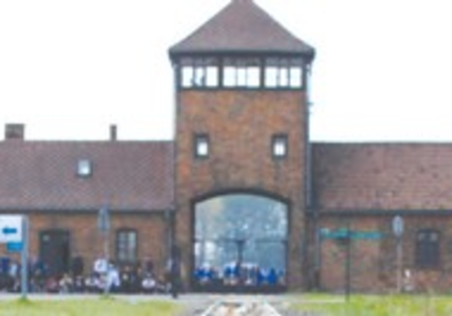 Main railway building at Birkenau camp in Poland.