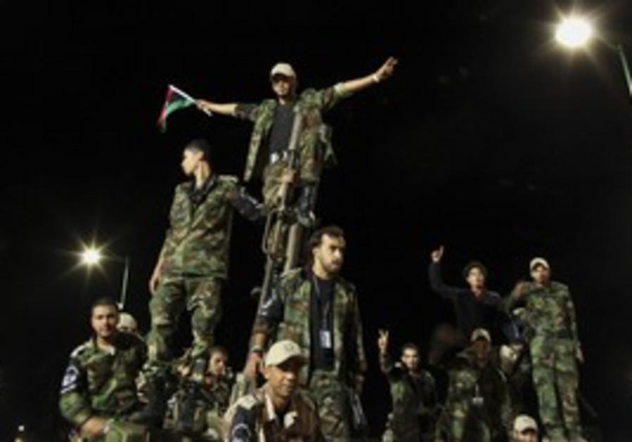 Libyan revolutionaries in parade