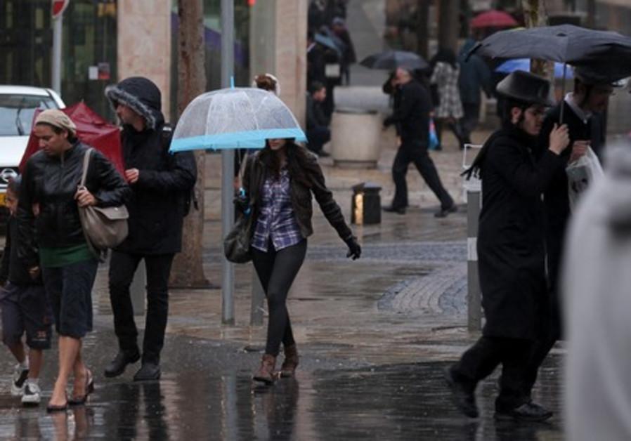 Rain falls in central Jerusalem