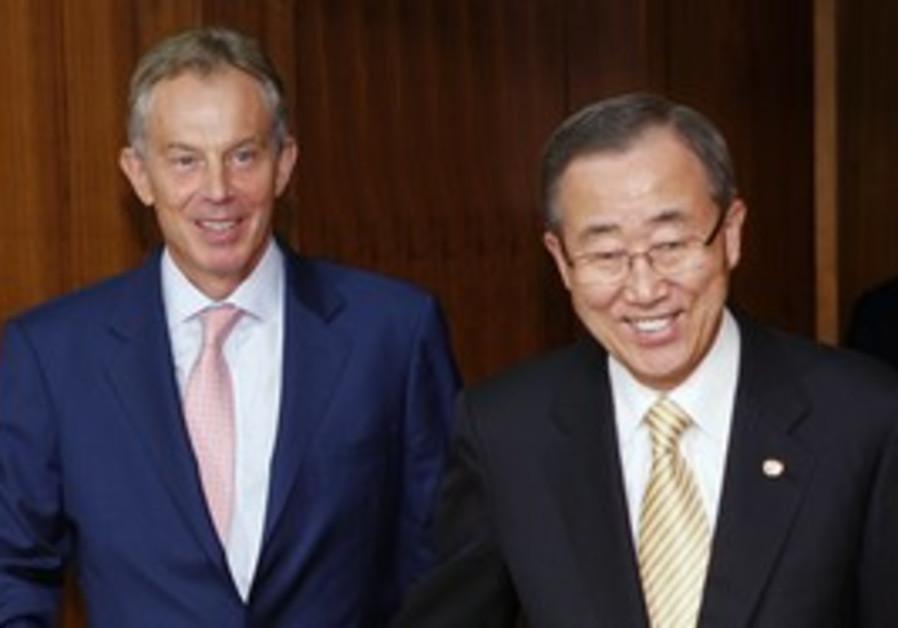 UN Sec.-Gen. Ban Ki-moon and Tony Blair