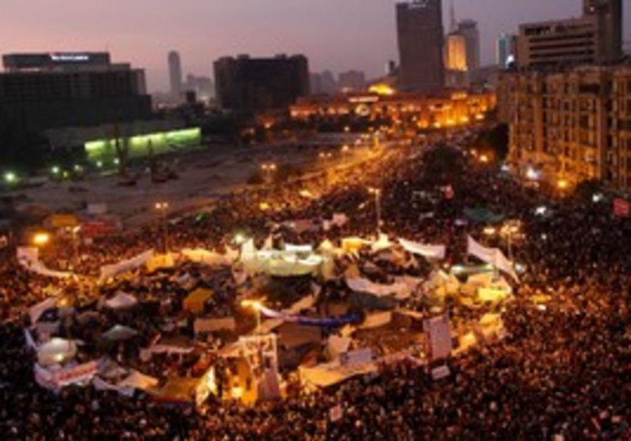 Protesters during a march in Tahrir Square, Cair