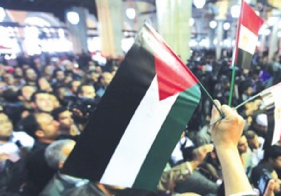 Man holds Palestinian and Egyptian flags at Cairo