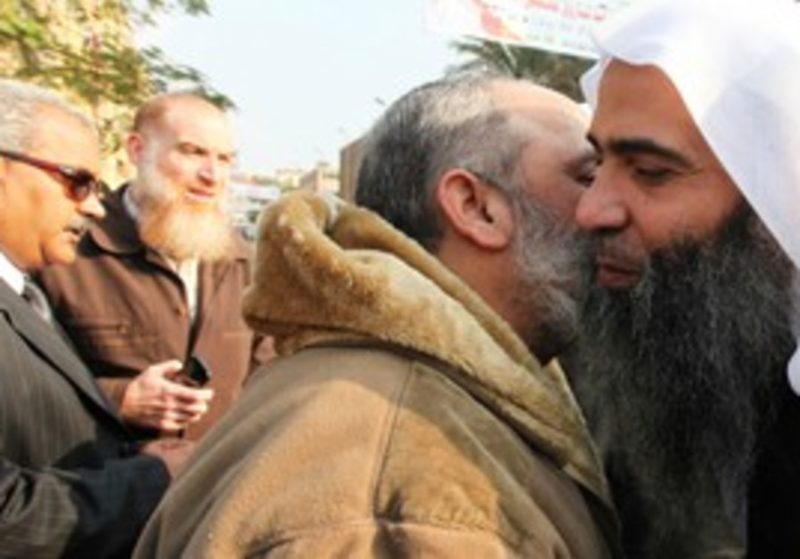 Nour Party candidate greets a supporter in Egypt