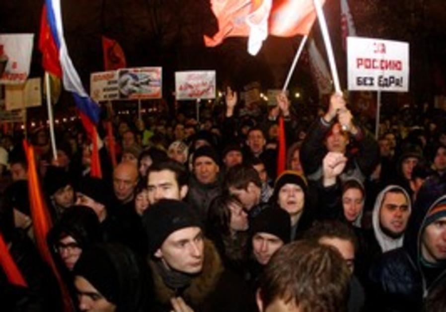 Protesters in Russia.