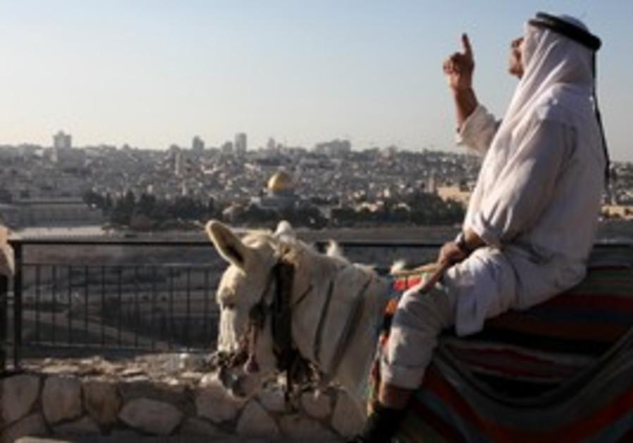 View of Jerusalem Old City, Arab man